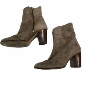 Free People Heeled Boots Gray Suede Size 37